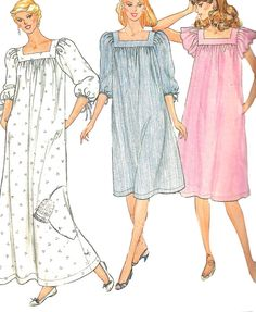 1980s Nightgown Pattern Sewing Butterick Vintage Long Short Gown Sleepwear Misses Size LG 16 - 18 Bust 38 - 40 Inches