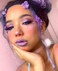 Purple Makeup Looks, Cute Makeup Looks, Purple Eye Makeup, Makeup Eye Looks, Halloween Makeup Looks, Crazy Makeup, Pretty Makeup, Purple Eyeshadow Looks, Cool Makeup