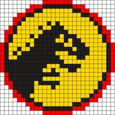 Jurassic Park Logo by MadAlice on Kandi Patterns Pony Bead Patterns, Kandi Patterns, Peyote Stitch Patterns, Hama Beads Patterns, Beading Patterns, Bracelet Patterns, Perler Beads, Perler Bead Art, Fuse Beads