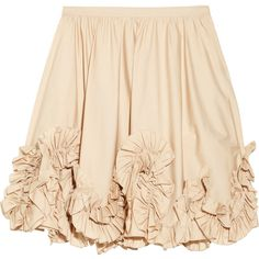 Valentino Ruffle-appliquéd cotton-blend mini skirt ($556) ❤ liked on Polyvore