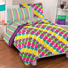 Full Bed In A Bag Sheet Set Kids Bedding 5 Piece Comforter  Rainbow Hearts  #DreamFactory