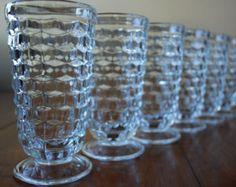 Six Vintage American Whitehall Footed Ice Tea Glasses - Clear - Cubist - Minimalist $35 plus $15 shipping
