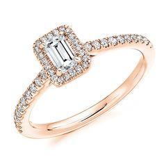 Berry's Rectangular Emerald Cut Diamond & Surround Engagement Ring From Berry's Jewellers