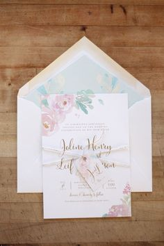 Just My Type Wedding Invitation & Wedding Stationery Design NZ Romantic Pastel Watercolour Floral Silver Fern Wedding