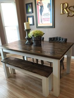 For sale rustic farm style wood dining table furniture this is a solid wood farmhouse kitchen table with matching wooden bench dining table with dark walnut stained top and distressed ivory base workwithnaturefo