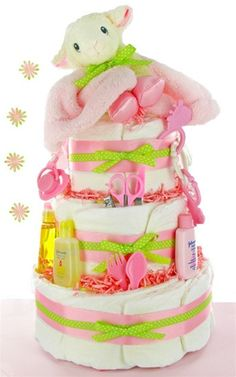 Plush Lamb 3 Tier Girl Diaper Cake - baby shower gift idea easy to make! Baby Cakes, Baby Shower Cakes, Baby Shower Diapers, Baby Shower Parties, Baby Shower Gifts, Baby Gifts, Diaper Cakes, Baby Showers, Toddler Gifts
