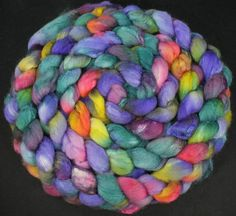 Roving Blue Faced Leicester/silk, hand dyed, hand painted fiber for spinning and felting, 4.4 oz. €16.90, via Etsy.