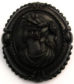 Fine Large Antique Faux JET Vulcanite Cameo Brooch Hera