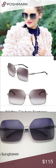 New Wildfox Couture Fontaine Sunglasses & Case NWOT . Silver frames with a tint of blue glass. Has Wildfox on outside of frames . Fontaine on inside . Wildfox Couture Accessories Sunglasses