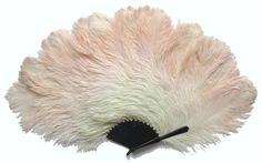 Huge Pink and White Ostrich Flapper Burlesque Dancer Fan - Date: ca. 1925 - MadAboutFans.com