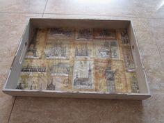Bandeja rectangular de madera, decorada con motivos de monumentos europeos, con pintura y papel arroz. Manualidades Rosamay. Modelo Bandejas 02