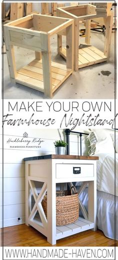 Farmhouse nightstand plans that will give your bedroom a Joanna Gaines farmhouse vibe. These free DIY nightstand plans are an easy step-by-step tutorial on how to recreate a farmhouse nightstand for your home. home crafts Farmhouse Nightstand Diy Furniture Projects, Diy Wood Projects, Furniture Makeover, Woodworking Projects, Furniture Stores, Woodworking Plans, Diy House Projects, Furniture Movers, Woodworking Beginner