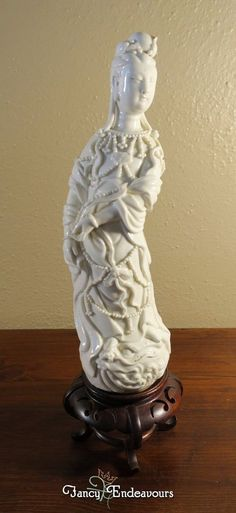Chinese Blanc de Chine Porcelain Guanyin on Lion or Dragon Figurine on Stand #Unknown