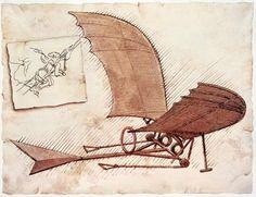 Leonardo da Vinci: ornithopter.     Image Courtesy:    http://www.britannica.com/EBchecked/media/95182/Leonardo-da-Vincis-plans-for-an-ornithopter-a-flying-machine