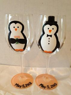 Bride & Groom Penguin Wine Glasses