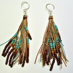 feather fringe earrings by AMiRAjewelry on Etsy