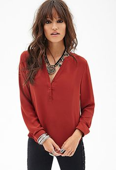 Buttoned Woven Top | FOREVER21 - 2000083927