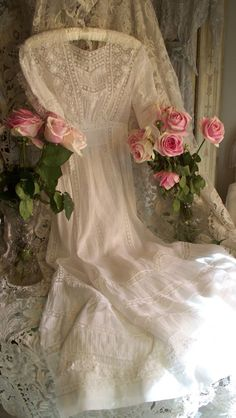 "lady-basil:  ""  vintagefrenchstyle.com  Antique Victorian Heirloom Sewn Wedding Dress Circa 1899  """