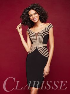 a3eb5929f39 Style 3352 from Clarisse is an off the shoulder fitted jersey cocktail dress  with dramatic gold crystal accents and a cutout back.