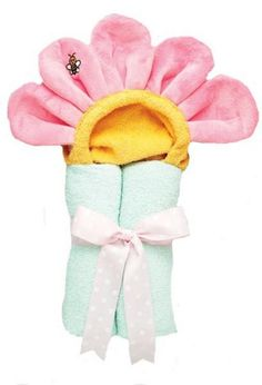"""Flower hooded towel is back in stock and still a favorite among consumers. This towel fits babies to 6 years and up and measures 27"""" X 50"""". This pastel hooded flower towel is made of 100% absorbant cotton terry with the hood design being an extra soft plush polyester for comfort. This childrens towel is perfect for baths, pool and of course the beach."""