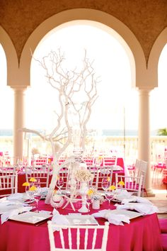 Pink wedding tables at engage12 at thebreakers image seaside inspired pink decor junglespirit Images