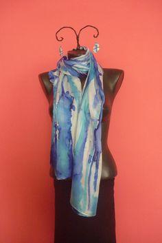 Silk, silk scarf, hand made scraf, silk painting,  blue scarf, 180 x 45 cm by tothajhsa on Etsy