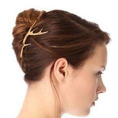 1Piece Girls Hair Jewelry Accessories Gold Silver Metal Antler Dear Horn Alligator Hairpin Women HeadWear Bobby Pin Clip HP066