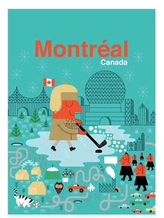 Illustration for the Human Empire poster series of big cities by Maxime Francout of Montreal, Canada: Gravure Illustration, Tourism Poster, Of Montreal, Poster Series, Retro Art, Retro Color, Travel Maps, Advertising Poster, Vintage Travel Posters