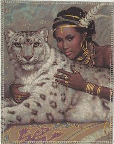 The Guardian Snow Leopard Exotic Woman Karl by Crafterssupplies, $12.00
