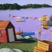 """Afternoon With Dreamboat"" - by Nova Scotia artist, Paul Hannon. Acrylic Artwork, Newfoundland, Home Art, Oil On Canvas, Coastal, Laundry, Nova Scotia, Art Designs, Drawings"