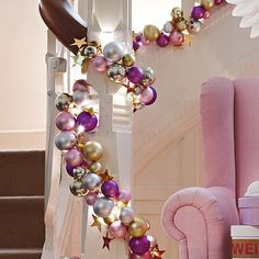 Ball garland (not these colors for me, but the idea is great)