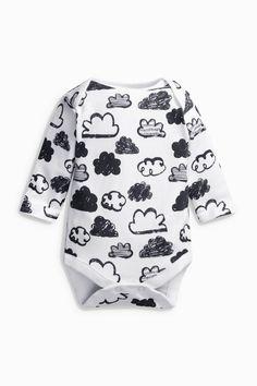 Buy Monochrome Cloud Print Long Sleeve Bodysuit online today at Next: United States of America Latest Fashion For Women, Kids Fashion, Baby Boy Outfits, Kids Outfits, Unisex, Long Sleeve Bodysuit, Baby Bodysuit, Cute Babies, Boys