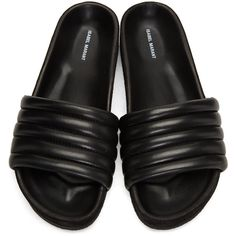 Isabel Marant Black Hellea Pool Slides ($410) ❤ liked on Polyvore featuring shoes, isabel marant shoes, isabel marant, cushioned shoes, pull on shoes and slip-on shoes