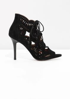 Suede Lace Up Sandalette - Black - & Other Stories