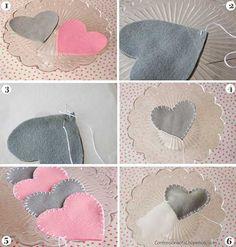 Cómo hacer una guirnalda con corazones de fieltro :) Es ideal!!