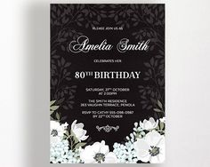 80th Birthday Invitation Floral Flowers by WestminsterPaperCo