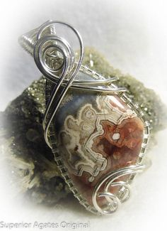 wire wrapped stones | Mexican Crazy Lace Agate Wire Wrapped Stone by ... | Wire Jewelry