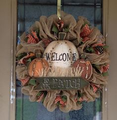 Pumpkins Burlap and Chevron Ribbon Fall by SignsBYDebbieHess, $65.00