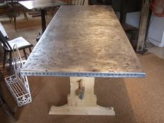 Photo: This Photo was uploaded by rotometals. Find other pictures and photos or upload your own with Photobucket free image and vide. Dining Area, Dining Table, Kitchen Tables, Zinc Sheet, Zinc Countertops, Knock Down Wall, Zinc Table, Free Photo Gallery, Farmhouse Table