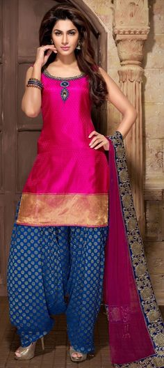 411697, Party Wear Salwar Kameez, Georgette, Banarasi, Art Silk, Border, Stone, Patch, Kasab, Machine Embroidery, Cut Dana, Resham, Pink and Majenta Color Family