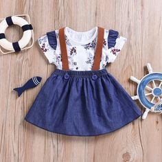 Mini Angel 2pcs Toddler Baby Romper Clothes Set Girl Floral Jumpsuit Strap Skirt Outfits Blue *2 59612Months *** Check out the photo link more information. (This is an affiliate link).