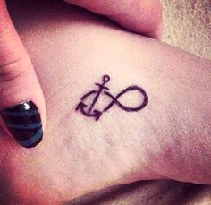 anchor infinity tattoo on foot