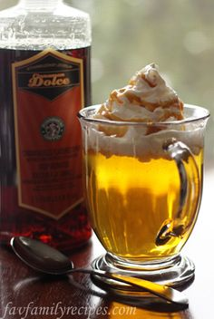 Copycat Starbucks Caramel Apple Spice Cider from MyRecipeMagic.com. #drinks
