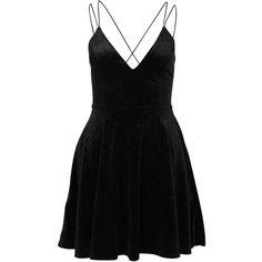 Nly One Skater Imagine Dress ($41) ❤ liked on Polyvore featuring dresses, velvet skater dress, open back skater dress, v-neck dresses, v neck skater dress and open back cocktail dress