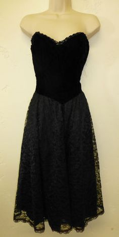 Vintage Jessica McClintock Gunne Sax Black Lace 1980's Dress Sequins Cocktail