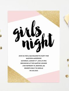 Colorblock printable bachelorette party invitations with pink and gold patterns for a feminine layout enhanced with metallic accents and brushstroke font.