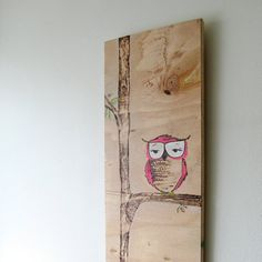 Neon Pink Woodland Owl Wood Burned Painting by @katyatch #sfetsy2013