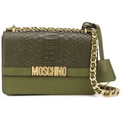 Moschino Logo Plaque Shoulder  Bag (£860) ❤ liked on Polyvore featuring bags, handbags, shoulder bags, green, chain shoulder bag, embossed leather handbags, genuine leather handbags, crossbody shoulder bags and leather crossbody purses