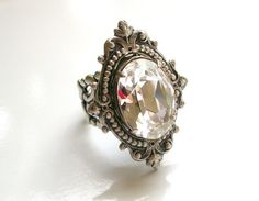 Swarovski Crystal Victorian  Silver Ring Cocktail Ring Bridal Ring Vintage style Wedding Jewelry