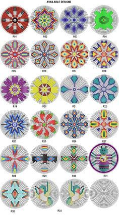 Native American Beading Patterns Rosette Kit Fabric Native American Designs to make 25 dia 4 Native Beading Patterns, Beadwork Designs, Seed Bead Patterns, Peyote Patterns, Loom Patterns, Bag Patterns, Design Patterns, Pattern Ideas, Fabric Patterns